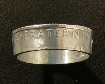 Ladies Silver Coin Ring, 1920 France 1 Franc Liberty,Fraternity + Equality,Ring Size 7 1/2 and Double Sided