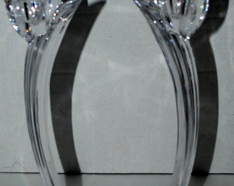 Vintage tall clear glass candle sticks curved design scalloped base