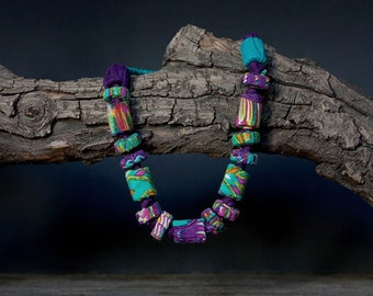 Fiber textile necklace, statement jewelry with bamboo beads, OOAK purple turquoise necklace