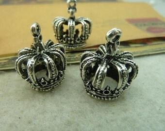 10pcs 18*21*24mm antique silver crown charms pendant  C3732