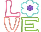 applique love flower, applique flower, embroidery design, applique design, instant down load, digitized file, digitized embroidery file