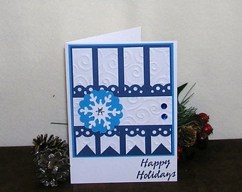Christmas card, Snowflake card, blue card, Happy Holidays card, embossed  card, greeting card, handmade Christmas card