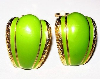 "Lime Green Clip On Earrings Enamel Painted Gold Metal Huggies 1"" Vintage"