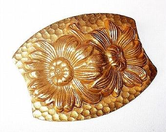 "Art Nouveau Repousse Brooch Pin Flower Design Hammered Gold Metal Vintage Jewelry 2.5"" Antique"