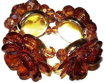"Flower Bracelet Root Beer Topaz Color Stones High Fashion Chunky Stretch Style 1.5"" W Vintage"