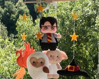 Harry Potter Baby Crib Mobile, Phoenix, Harry Potter, Dobby, Hedwig Owl, Sorting Hat, Wizard, Furniture BB Felt Dolls, Bedding Hanging 7