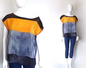 Silk top.  Color block top.  ORANGE CRUSH