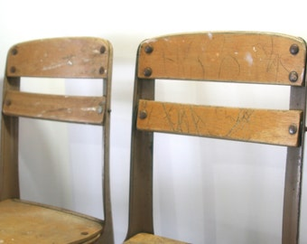 "Vintage PAIR of Children's 13"" AMERICAN SEATING Envoy Style Rusty Shabby Worn Pre School Desk Chair Molded Birch Plywood"
