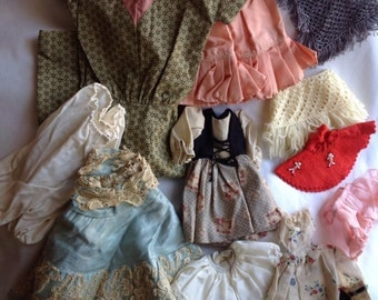 Vintage Doll Clothes Lot, 11 Pieces Doll Clothing, Antique Doll Clothes