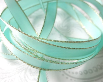 Gold Edged Aqua Satin Ribbon 3/8 inch -- 3 yards -- Robbins Egg -- 9.5mm