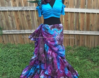 Berry patch lurex skirt for belly dance, renaissance faire, bohemian and gypsy