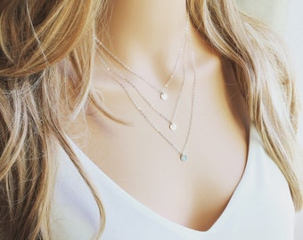 Triple Layered initials Necklace - Initials necklace - Everyday Jewelry - Personalized Layer Necklace - Personalized TRIPLE Strand Necklace