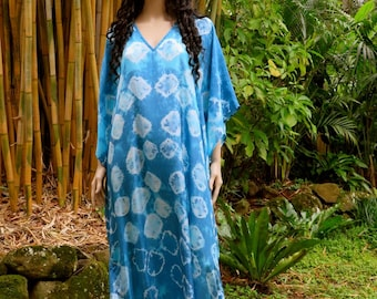 Long Silk Kaftan, Blue Kaftan Dress, Maxi Dress