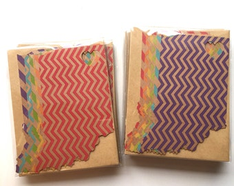 Rainbow Kraft Paper Indiana Die Cut Stationery Notecards, set of 6