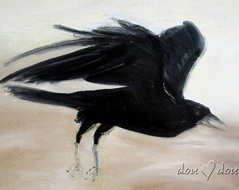 Raven in Flight - Art print of Original Oil Painting - 8x10 Bird Art