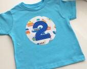 Second Birthday Shirt 2 two car train airplane blue  Modern gift photo prop aqua, navy,