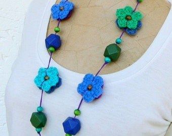 Country Chic Necklace, Bohemian Floral Necklace, Long Gypsy Soul Necklace, Handmade bright crochet necklace Turquoise,   Purple, Blue, Green