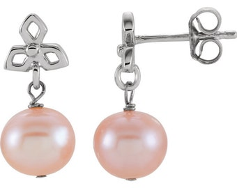 925 Sterling Silver Pink Freshwater Cultured Pearl Dangle Earrings