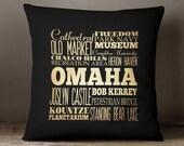 Omaha NE Decorative Pillow / Omaha Nebraska Throw Pillow / Omaha Souvenir / Nebraska Souvenirs Omaha / Omaha Gift / Omaha Decoration-LHA-202