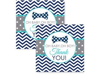 Oh Boy Party Favor Tag Boys Baby Shower Sticker Bow Tie Thank You Label Instant Download Navy Chevron Printable Aqua Celebration Little Man