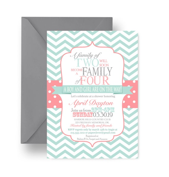 Coral & Mint Baby Shower Invitations Twins, Double Joy Invites, Girl Boy Sprinkle, Party Printable or Print Chevron and Polka Dots (TWICOR)