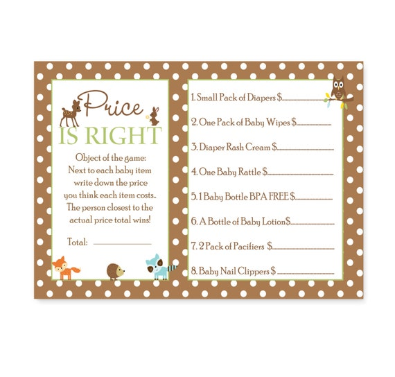 Woodland Baby Shower Price Game Card, Instant Download, Boys Guessing Activity with Owl, Fox, Casual Sprinkle Party Printable (WOODPRICEB)