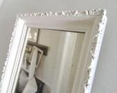 Vintage White Mirror Wood Frame