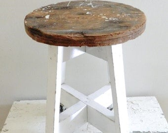 hold for Andrea-Vintage Wooden Stool Rolling Rustic Farmhouse