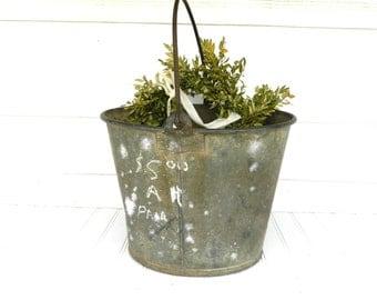 Vintage Metal Bucket Pail Galvanized