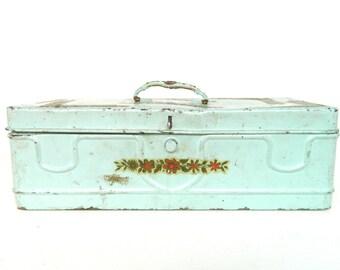 Vintage Metal Box Storage Box Blue Shabby Chic Divided Tool Box Art Box