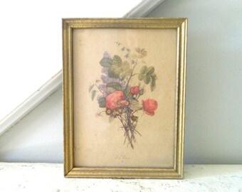 Vintage Botanical Floral Print Gold Frame Tre'vost