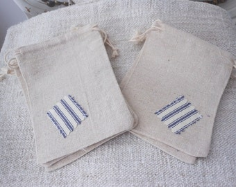 Set of 5 favor bags, farmhouse style favor bags