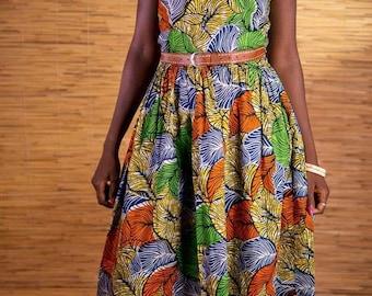 African wax-print sweetheart midi dress, African fabric, ankara clothes, handmade fairtrade dress from Burkina Faso