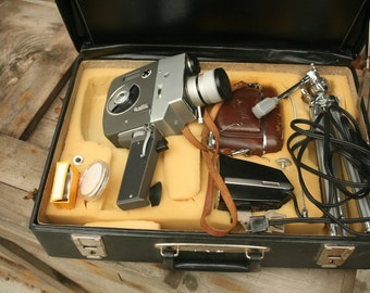 Vintage Camera Set, Kodak Retina Camera, Telesar Tripod, Camera Light, Emdeko Movie Camera,