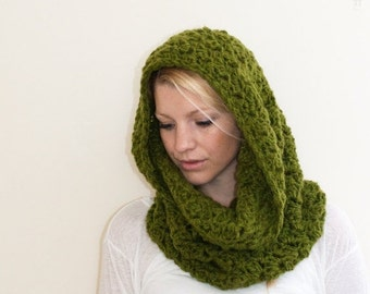 SUMMER SALE The CHARLOTTE cowl - Chunky Cowl Circle Scarf Hooded Scarf - avocado - limited quantities