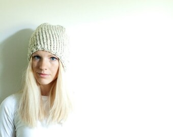 WINTER SALE the LENOIR hat - chunky knit womens slouchy hat beanie - wheat