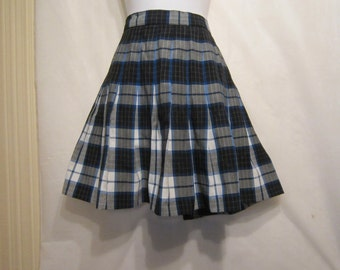 Black Grey White and Blue Check Pleated Skirt