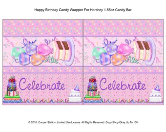 Printable Digital Happy Birthday  Hershey Candy Bar Wrapper- Cake- Ballons - Presents - Celebrate - chocolate wrapper