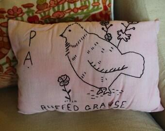 Primitive Pennsylvania Ruffed Grause Bird Pillow