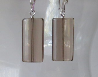 Smoky Quartz Smooth Rectangle Sterling Silver Earrings