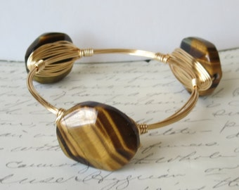 "Tigers Eye Stone Bangle Bracelet ""Bourbon and Bowties"" Inspired"