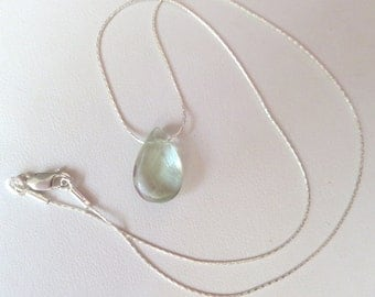 Aqua Fluorite Faceted Teardrop Pendant on Sterling Silver