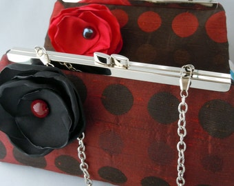 Red and Brown Wedding Clutch, Brown and Red Wedding Clutch, Bridesmaids Clutch, Red Brown Bridal Clutch