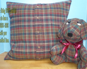 Memory Pillow Slipcover & Stuffed Animal Made From ONE Shirt of Loved One