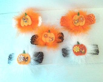 Thanksgiving Pumpkin Headband ...Newborn,Infants and some Toddlers..Thanksgiving, Photo Prop,Dog Accessory