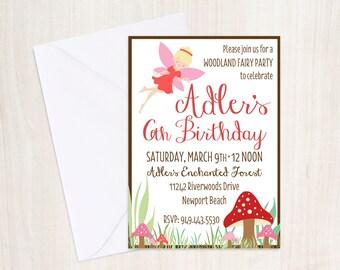 Custom Woodland Fairy Birthday Invite - Fairy Party Invitation - Fairy - Party Supplies