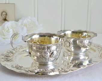 Creamer and sugar set with tray, vintage Swedish silver plate, Nils Johan Sweden