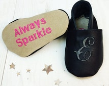 Leather baby Girl shoes - baby party shoes - baby occassion shoes - new baby gift - Sparkly baby shoes - personalized baby shoes