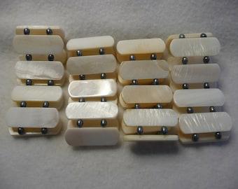 DESTASH  Shell and Black Fresh Water Pearls Stretch Bracelets  4pc Lot