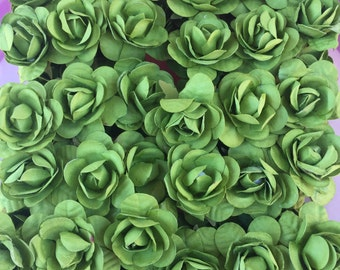 Set of 12 Green Mulberry Paper Flowers